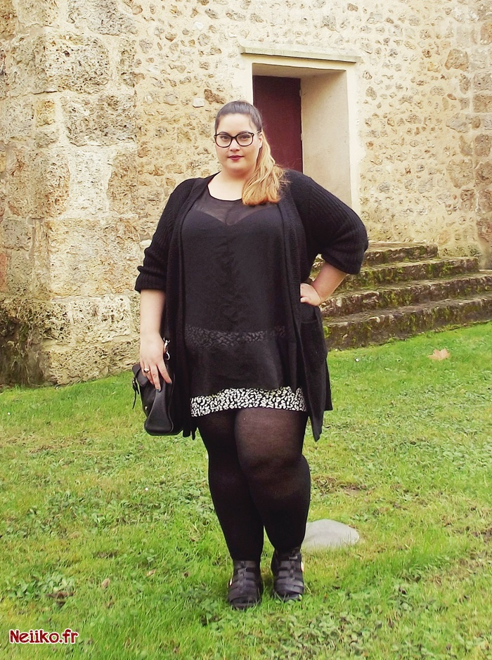 Outfit with kiabi plus size mini skirt