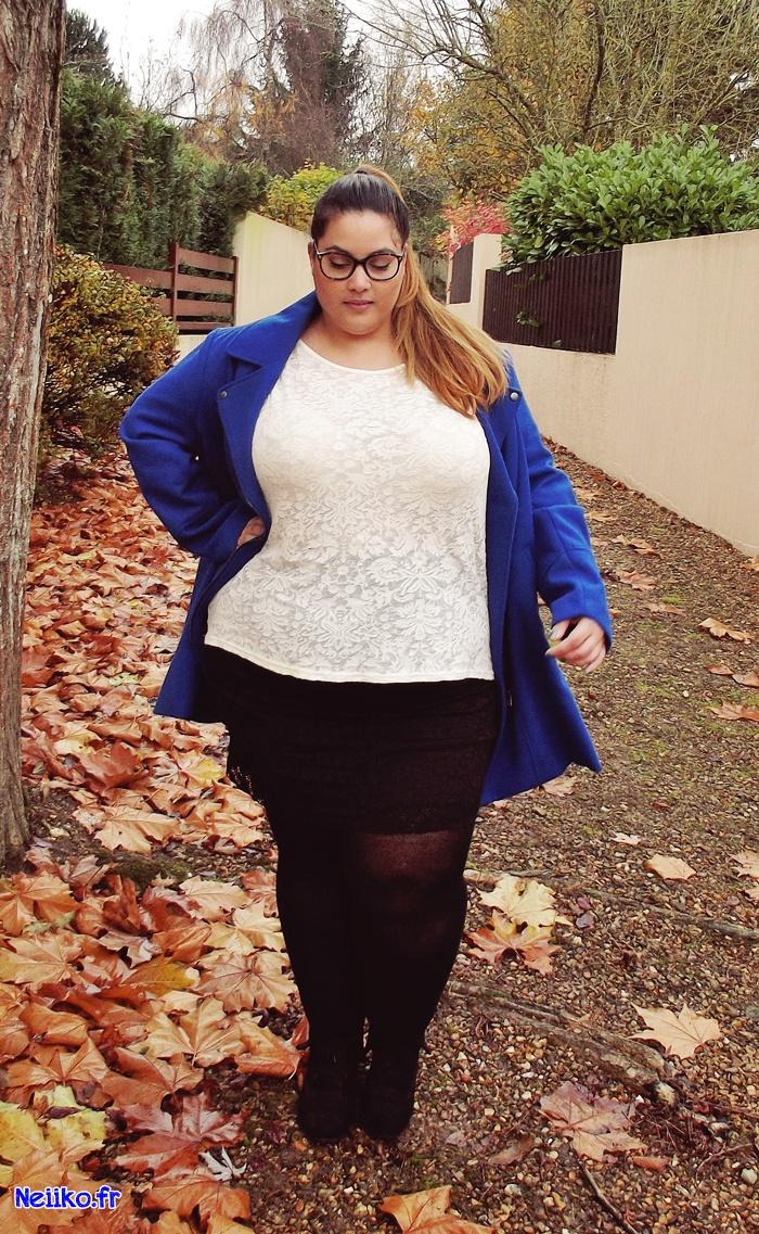 tenue du jour, mini jupe en dentelle Kiabi Grande taille et manteau perfecto Kiabi
