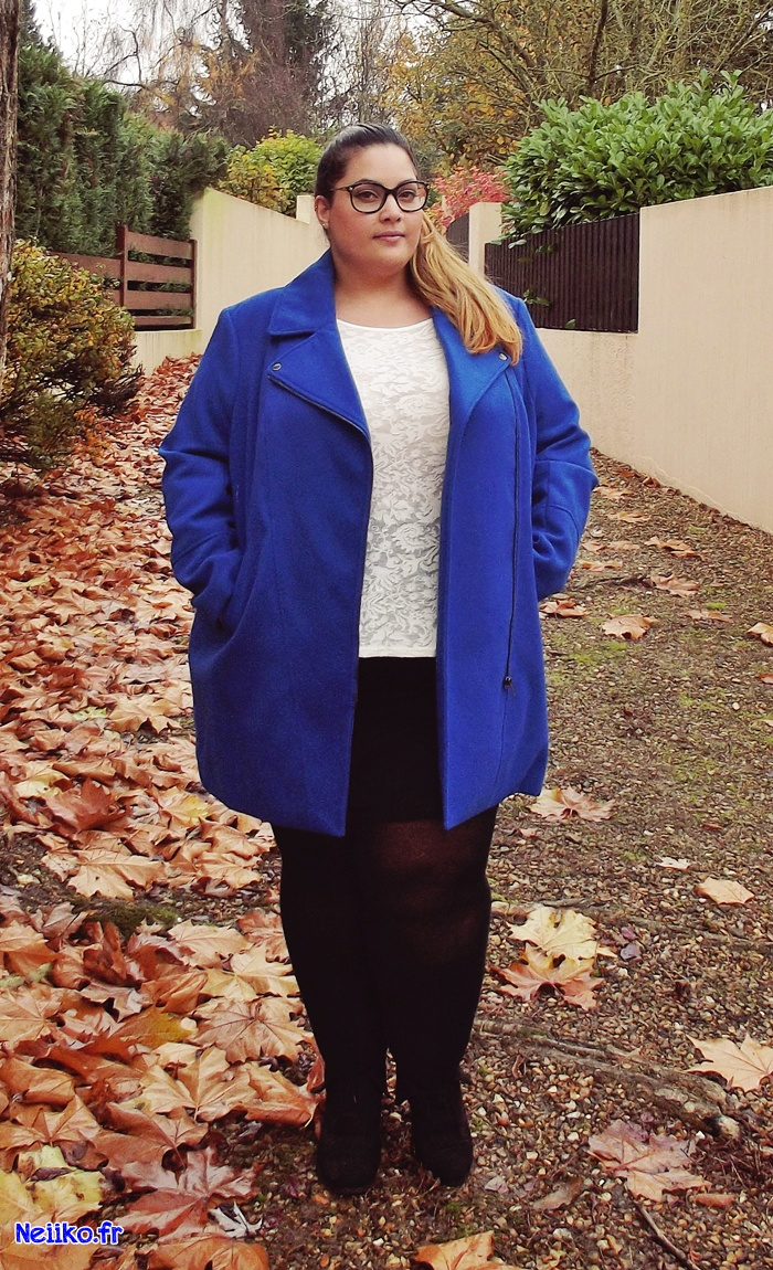 Outfit of the day with kiabi plus size miniskirt and perfecto coat