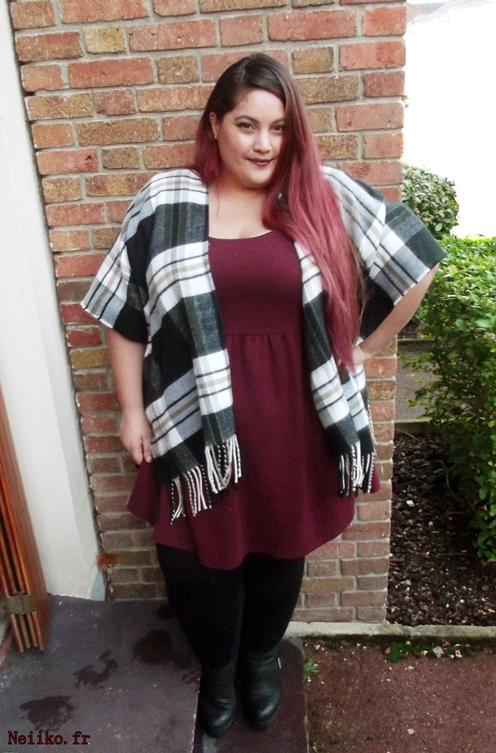 wrap plaid poncho plus size