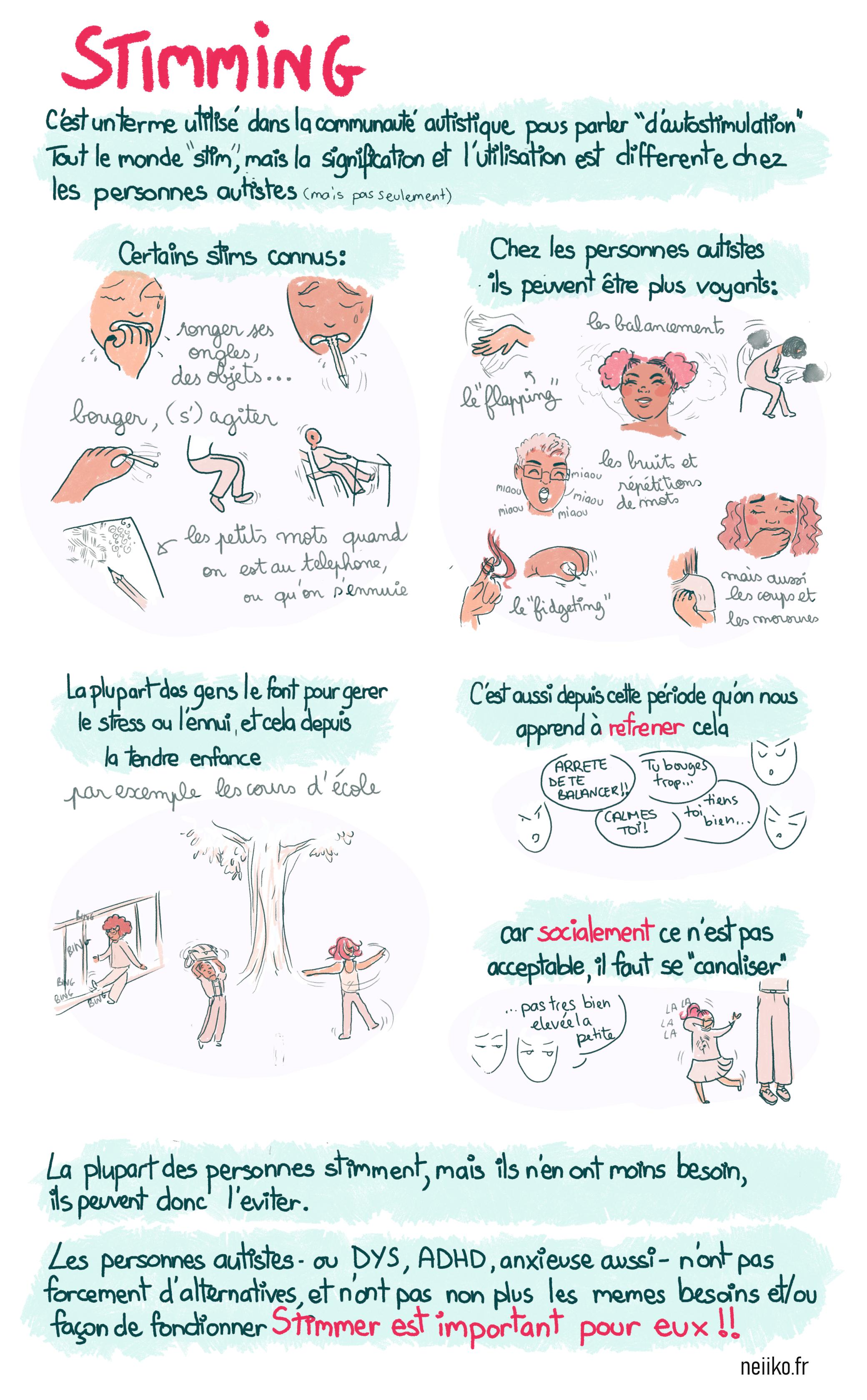 Une BD sur l'autostimulation (stimming) chez les personnes autistes. Leurs fonctions et importances.